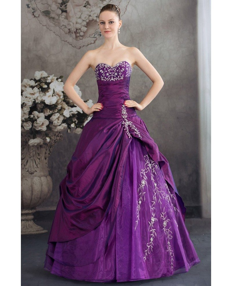 Colour Wedding Gown: Purple Sweetheart Embroidered Taffeta Ballgown Color