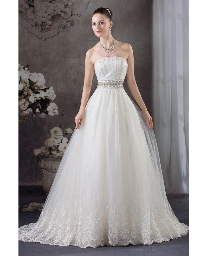 Strapless lace tulle beaded wedding dress with bling for Tulle halter wedding dress