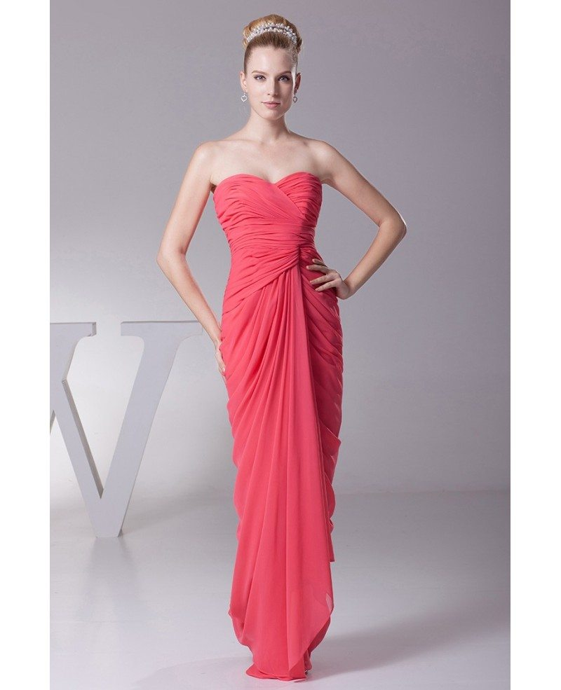 Strapless Sweetheart Tight Pleated Fuschia Bridesmaid Dress in Floor ...