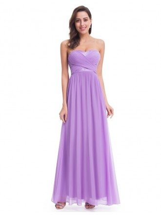 Lavender Strapless Long Evening Party Dress for Cheap