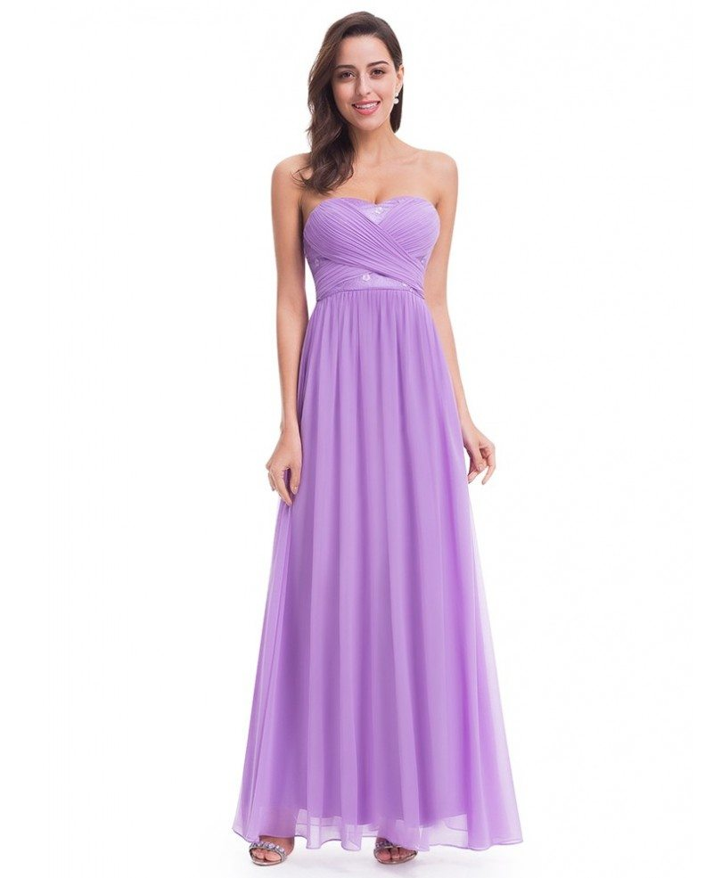 Discount Evening Dress: Lavender Strapless Long Evening Party Dress For Cheap