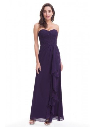 Dark Purple Elegant Strapless Long Chiffon Evening Party Dress