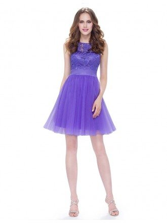 Round Neck Sleeveless Short Cheap Bridesmaid Dress