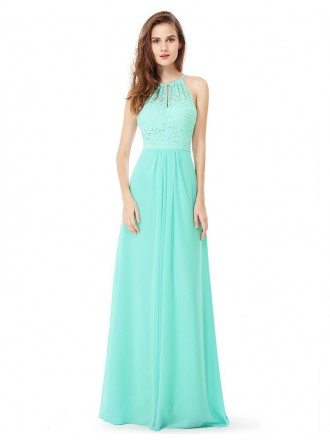 Lace Long Halter Chiffon Bridal Party Dress