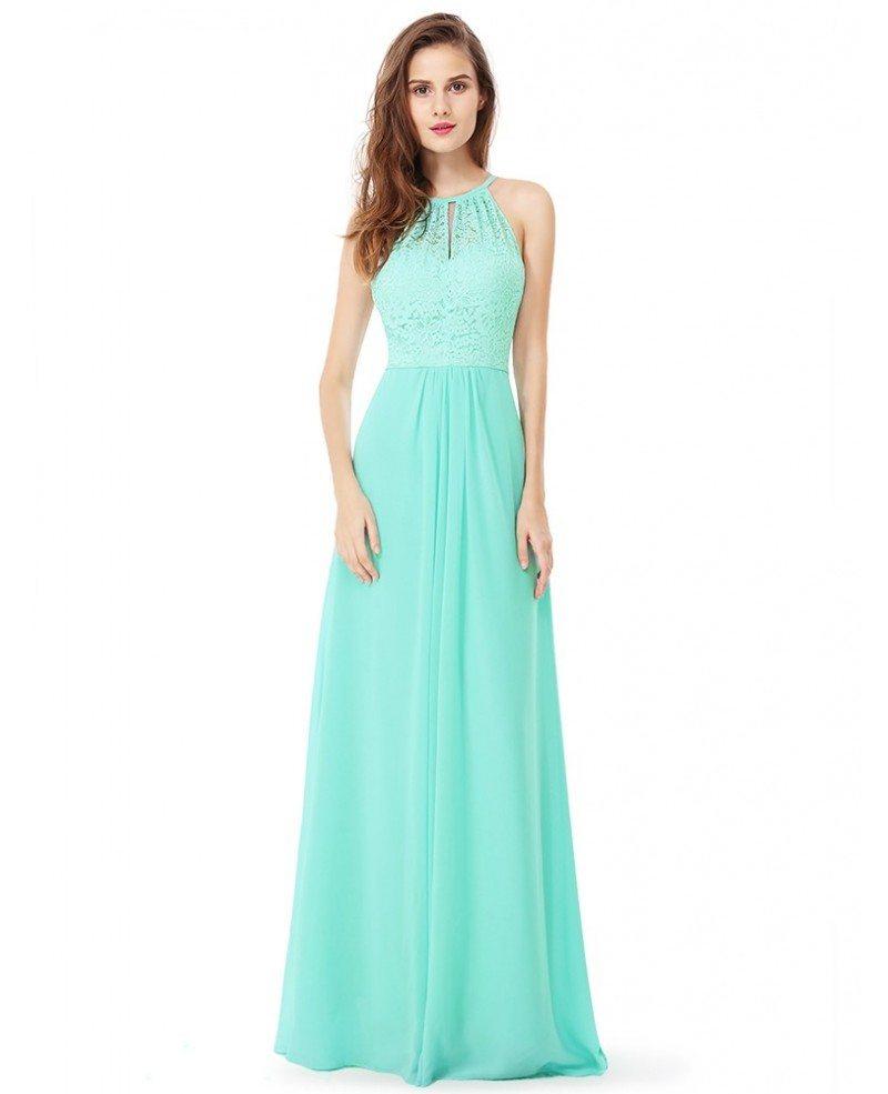 Aqua Blue Lace Long Halter Chiffon Bridal Party Dress #EP08982 ...