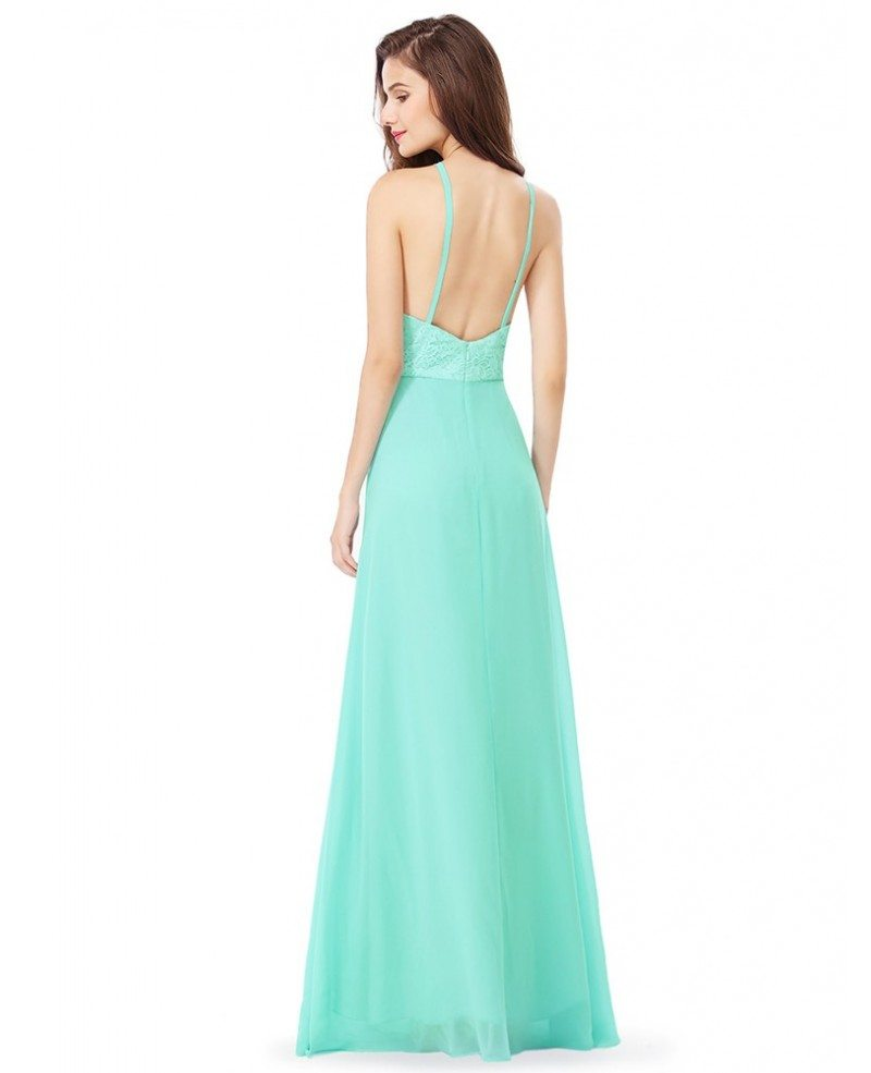 Peach Pink Lace Long Halter Chiffon Bridal Party Dress #EP08982 ...