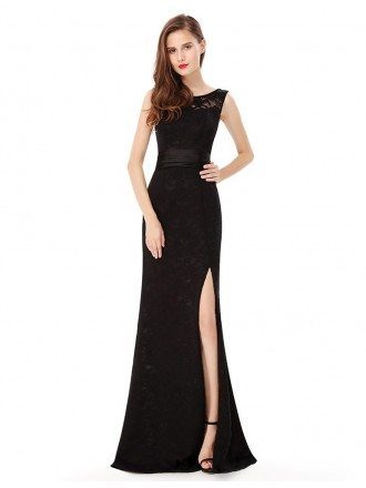Sleeveless Long Lace Evening Party Dress with Slit