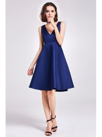 Simple Short V Neck Satin Cheap Bridesmaid Dress