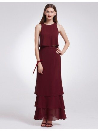 Two Piece Sleeveless Layered Long Cheap Bridesmaid Dress