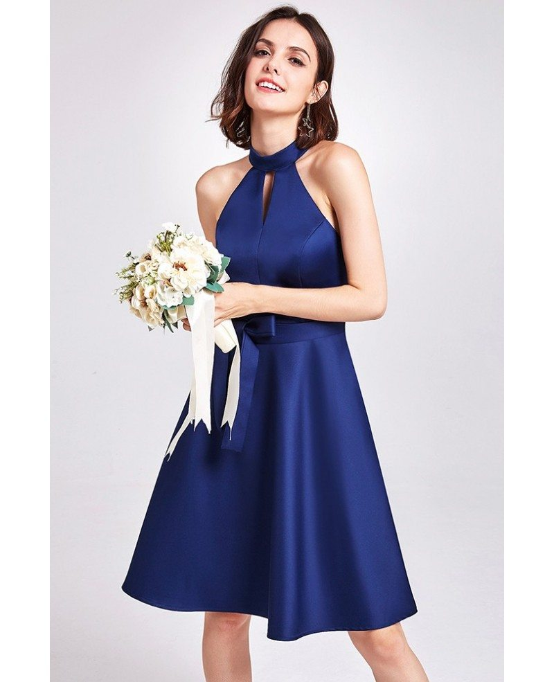 Light blue short knee length halter cheap bridesmaid dress for Short halter wedding dress