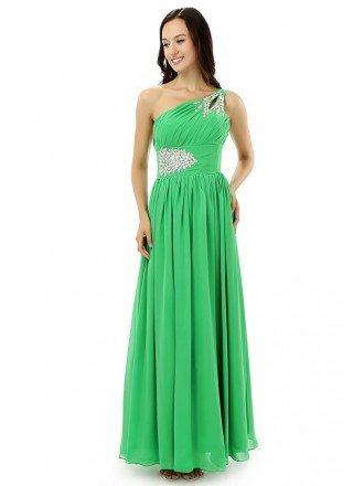 Sheath One-shoulder Floor-length Prom Dress