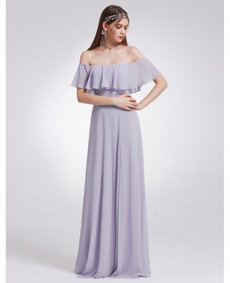 Dusty Lilac Elegant Ruffles High Split Beach Wedding Long Bridesmaid ...
