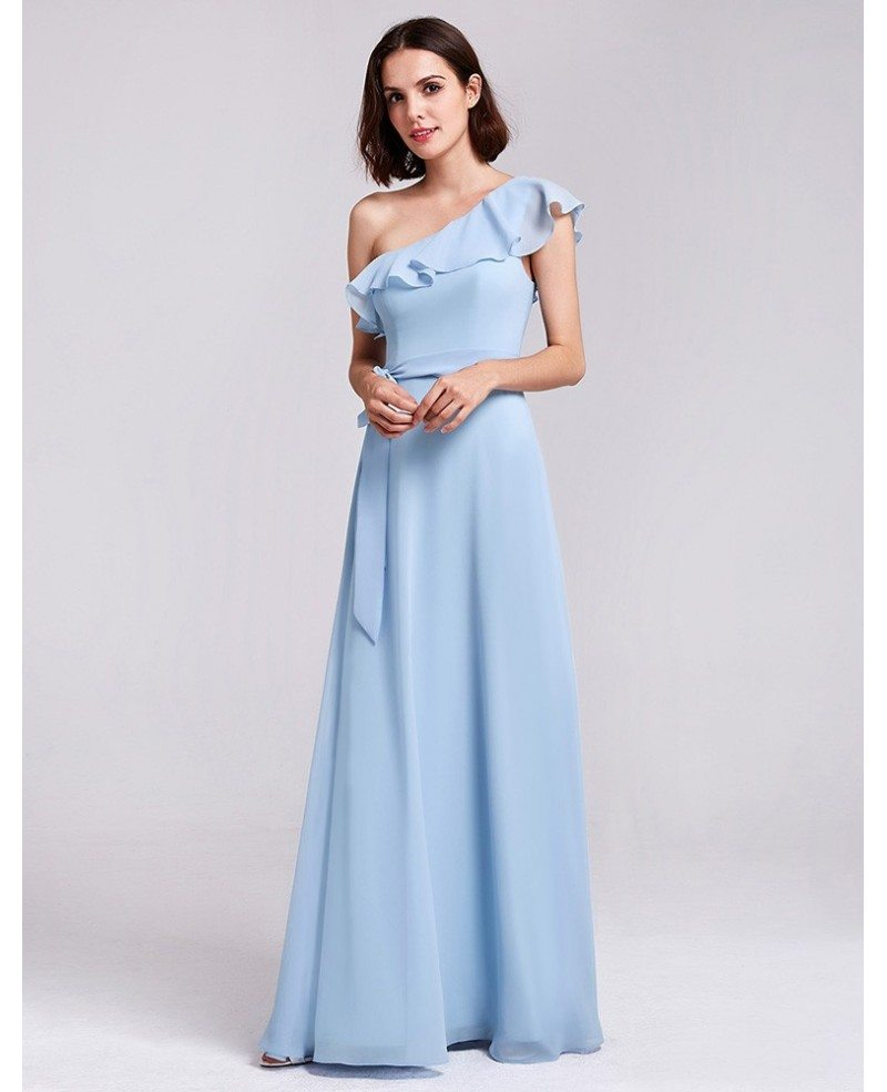 Navy blue chiffon long one shoulder ruffles oblique for Cheap chiffon wedding dresses