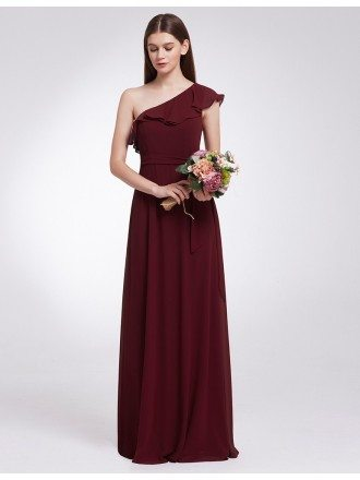 Chiffon Long One Shoulder Ruffles Oblique Neckline Cheap Bridesmaid Dress