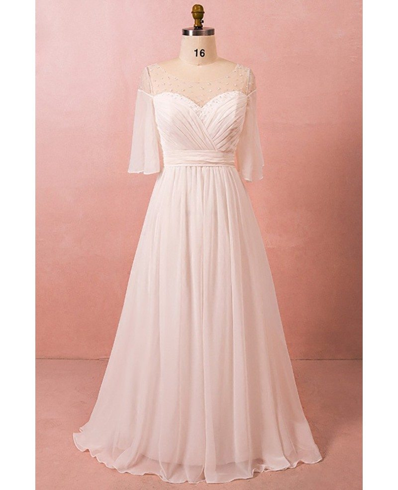 Plus size bohemian chiffon beach wedding dress with for Beach chiffon wedding dress