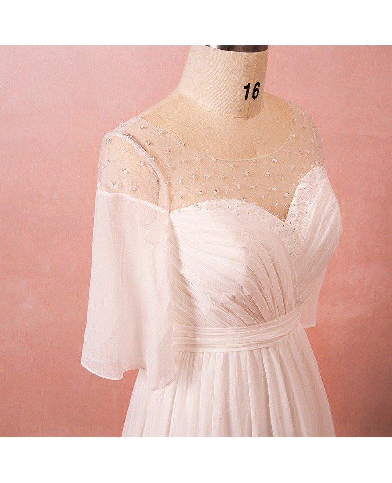 Plus Size Bohemian Chiffon Beach Wedding Dress With Sleeves ...