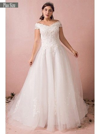 Plus Size Curvy Bride Off The Shoulder Wedding Dress Lace Long Train