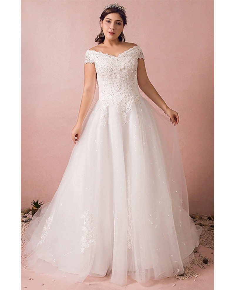 Plus size curvy bride off the shoulder wedding dress lace for Wedding dresses for larger sizes