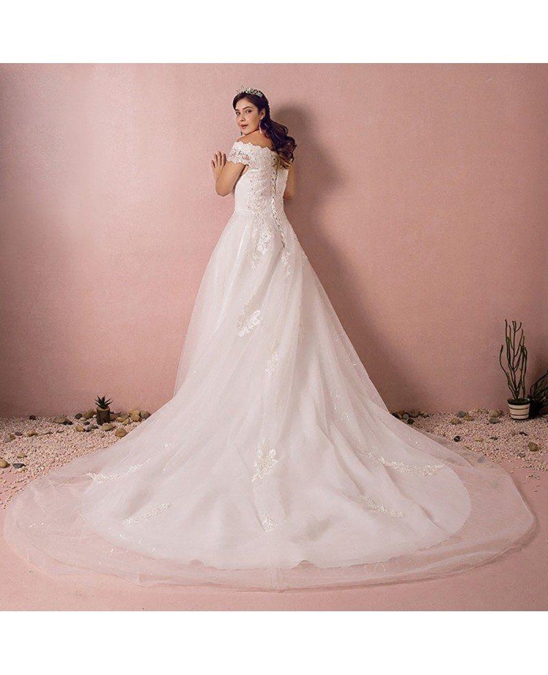Plus Size Curvy Bride Off The Shoulder Wedding Dress Lace Long Train ...