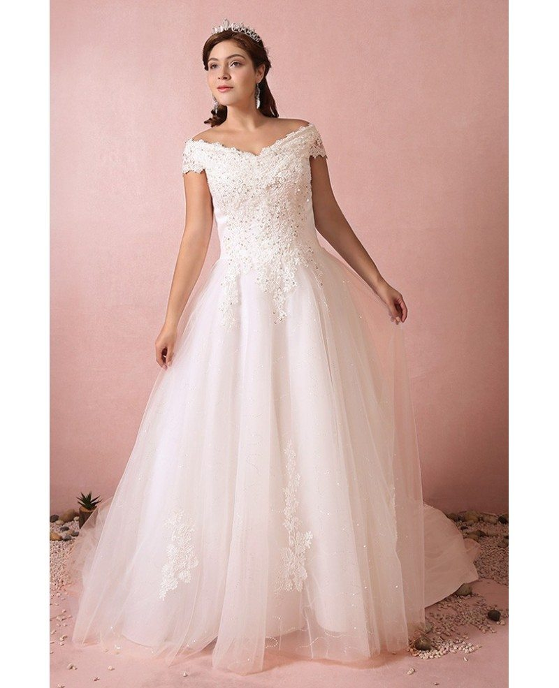 Plus size curvy bride off the shoulder wedding dress lace for Lace off the shoulder wedding dresses