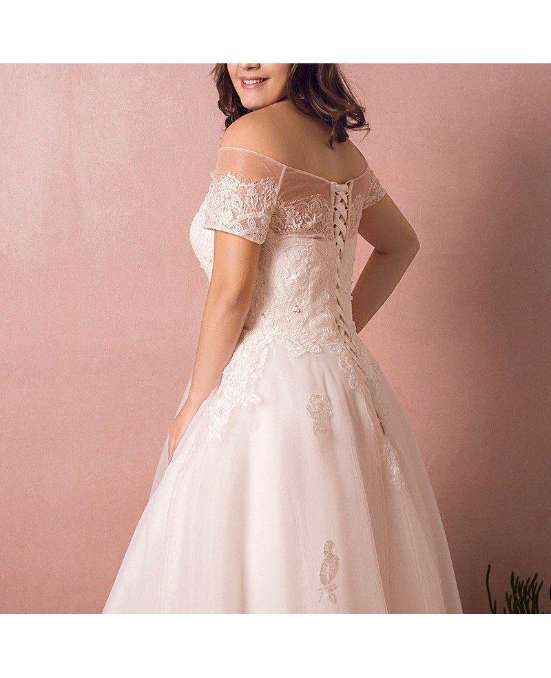 Plus Size Country Wedding Dresses: Boho Lace Off Shoulder Plus Size Wedding Dress Country A