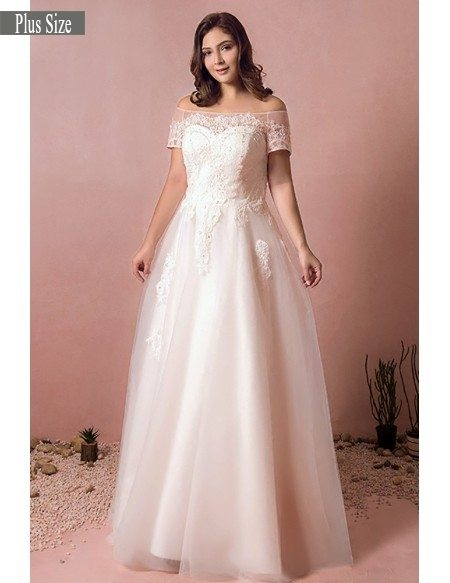 Boho Lace Off Shoulder Plus Size Wedding Dress Country A Line - Plus Size Fall Wedding Dresses