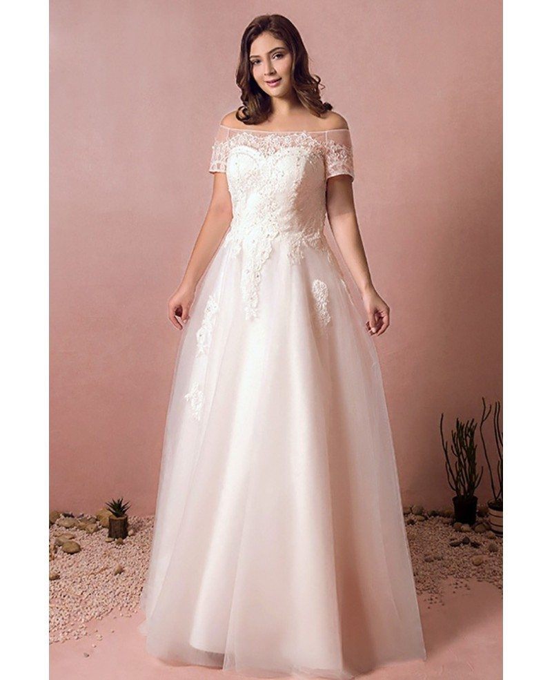Boho lace off shoulder plus size wedding dress country a for Lace wedding dresses plus size