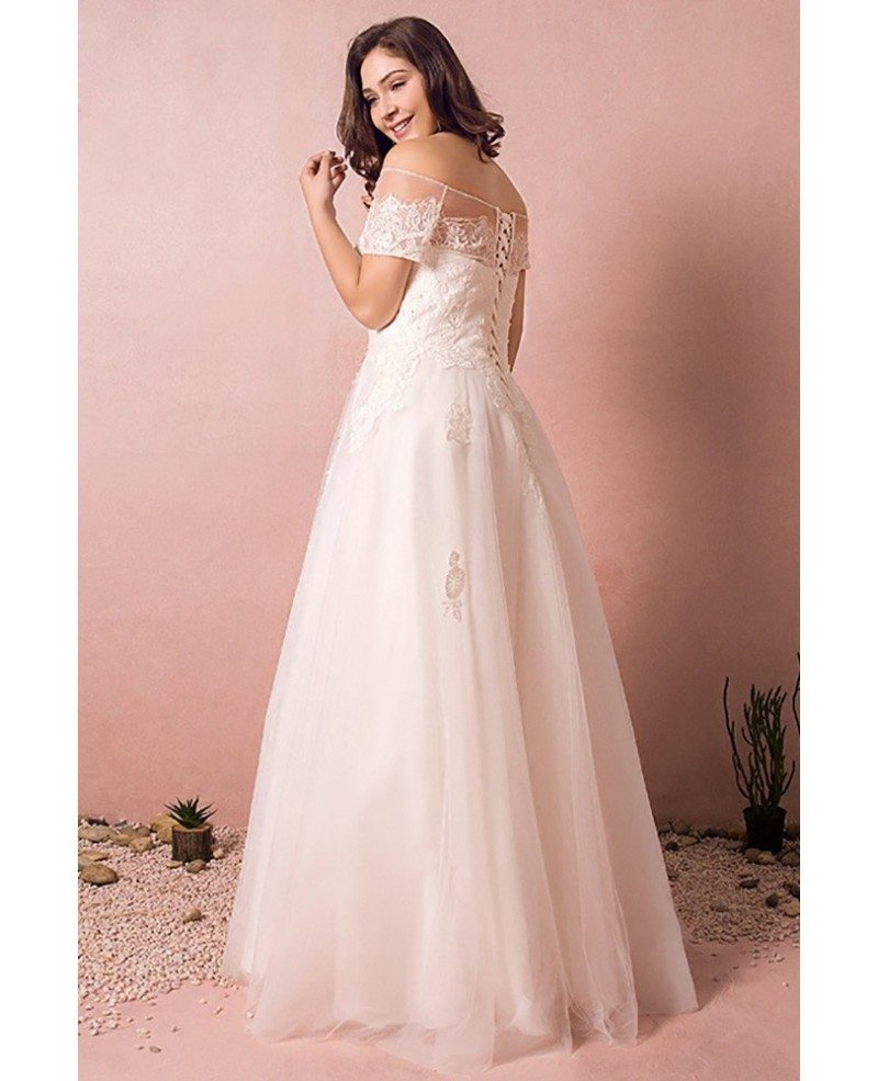 Boho lace off shoulder plus size wedding dress country a for What size wedding dress am i