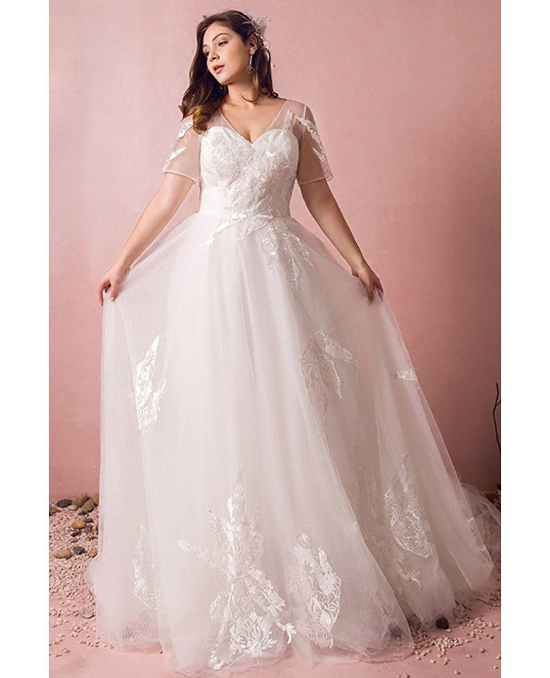 Wedding Dresses: Plus Size Boho Beach Wedding Dress Flowy Lace With Sleeves