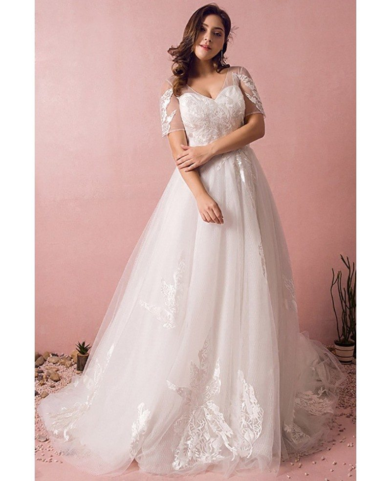 Plus size boho beach wedding dress flowy lace with sleeves for Plus size lace wedding dresses with sleeves