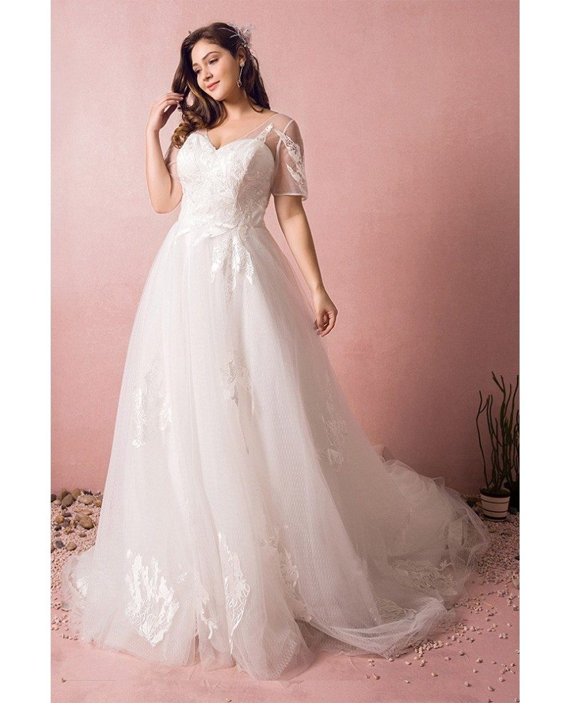 Plus size boho beach wedding dress flowy lace with sleeves for Cheap boho wedding dresses