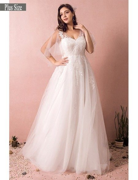 Grace Love Plus Size Tulle Beach Wedding Dress Boho With Sleeves 2018