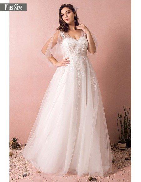 Plus size tulle beach wedding dress boho with sleeves 2018 for Plus wedding dress with sleeves