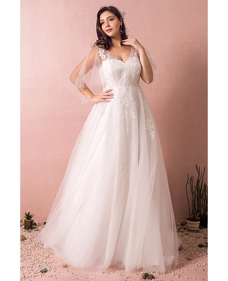 Wedding Dresses: Plus Size Tulle Beach Wedding Dress Boho With Sleeves 2018