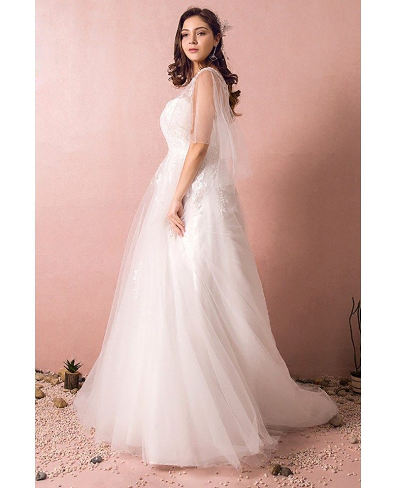 Plus Size Tulle Beach Wedding Dress Boho With Sleeves 2018 #MN8023 ...