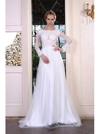 A-Line Scoop Neck Sweep Train Organza Wedding Dress With Appliquer Lace