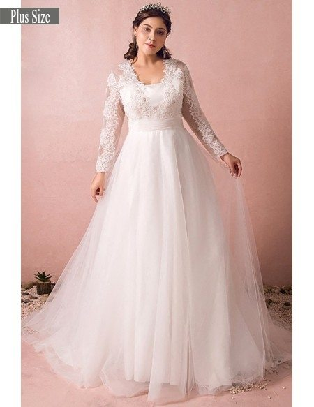 Grace Love Plus Modest Long Lace Sleeve Size Wedding Dress Tulle Beach Weddings