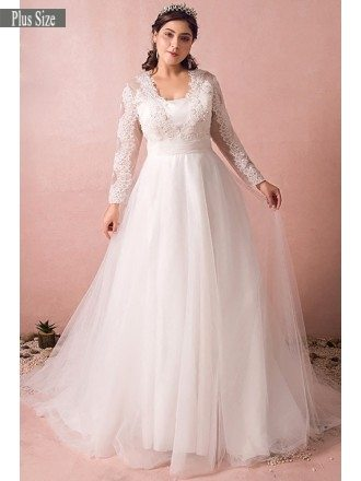 Affordable wedding dresses 2018 cheap wedding gowns online gemgrace modest long lace sleeve plus size wedding dress tulle beach weddings junglespirit Images