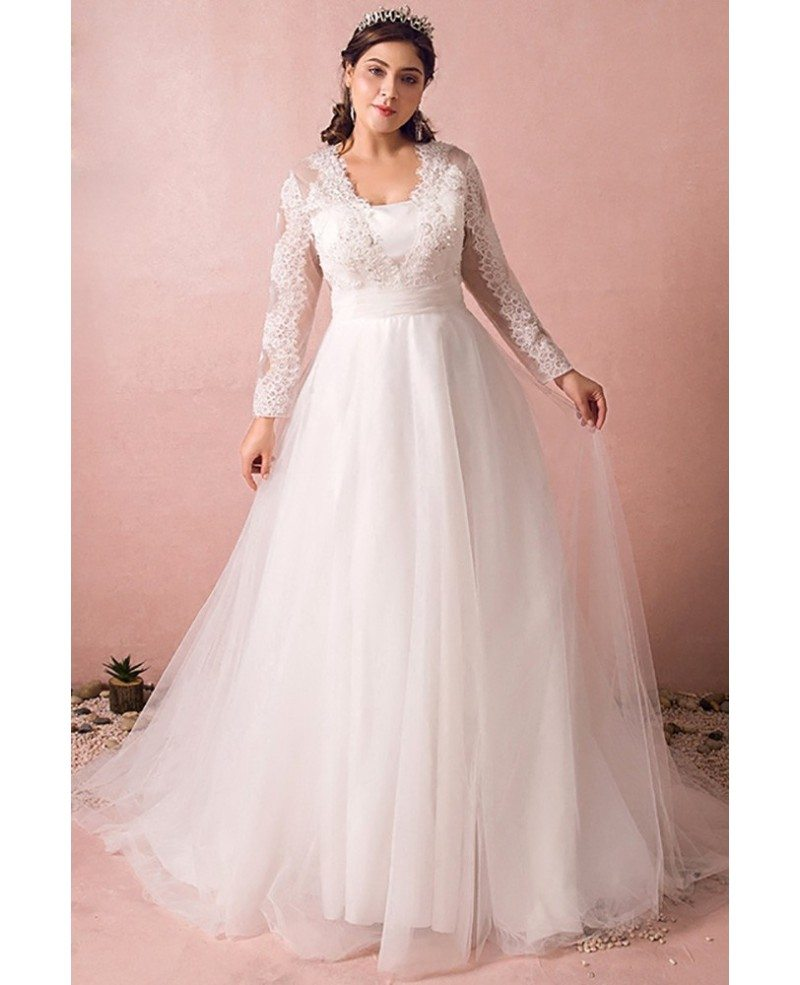 Modest long lace sleeve plus size wedding dress tulle for Long sleeve plus size wedding dress