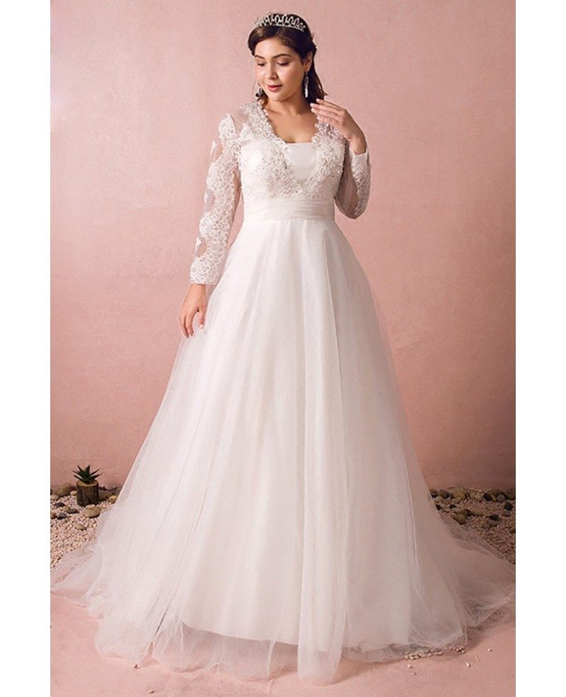 Modest long lace sleeve plus size wedding dress tulle for Modest wedding dresses under 500