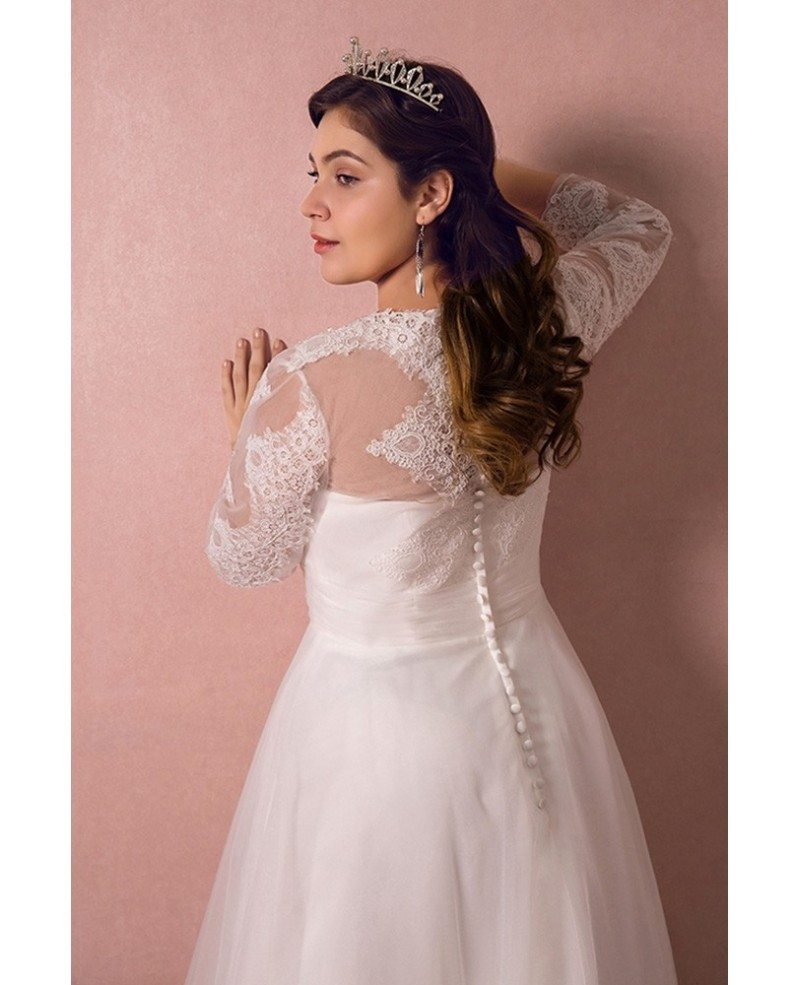 Modest Long Lace Sleeve Plus Size Wedding Dress Tulle Beach Weddings ...