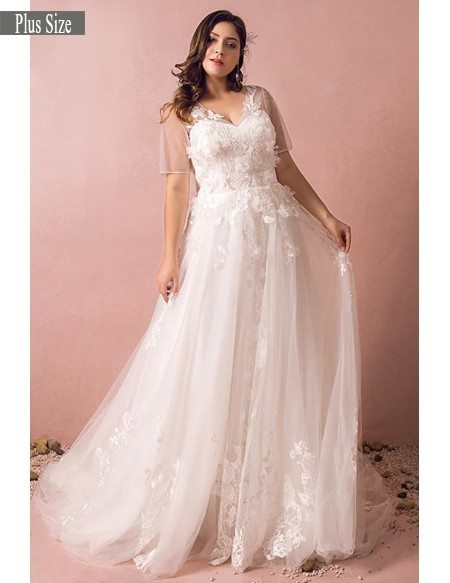 Dreamy boho plus size wedding dress with sleeves for beach wedding grace love plus dreamy boho plus size wedding dress with sleeves for beach wedding junglespirit Image collections