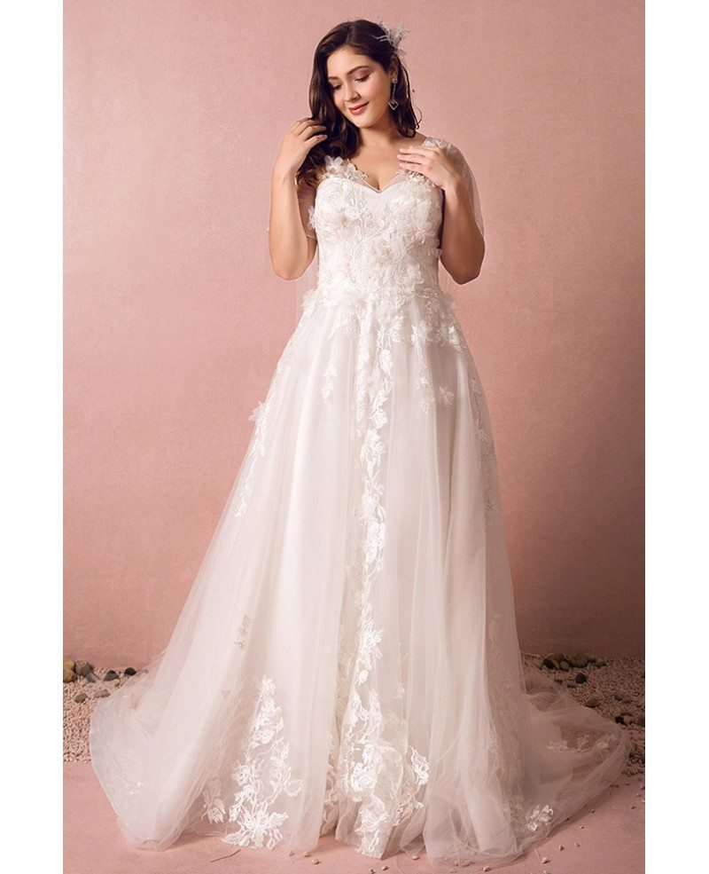 Dreamy boho plus size wedding dress with sleeves for beach for Beach wedding dresses for plus size