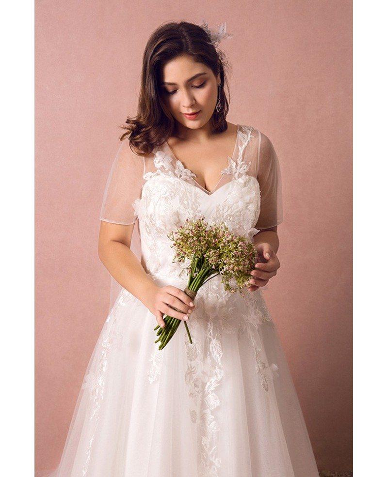 Dreamy Boho Plus Size Wedding Dress With Sleeves For Beach