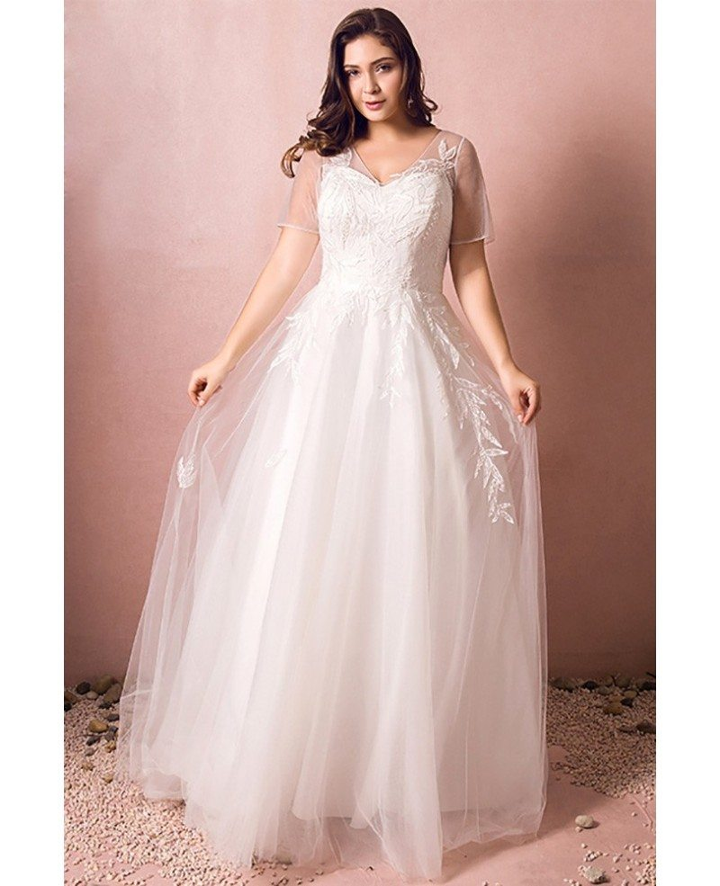 Simple modest plus size beach wedding dress illusion for Plus size illusion wedding dress
