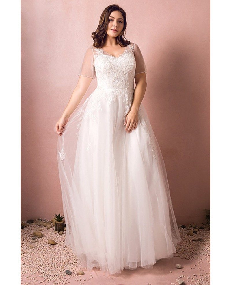 Simple Wedding Dresses With Sleeves: Simple Modest Plus Size Beach Wedding Dress Illusion
