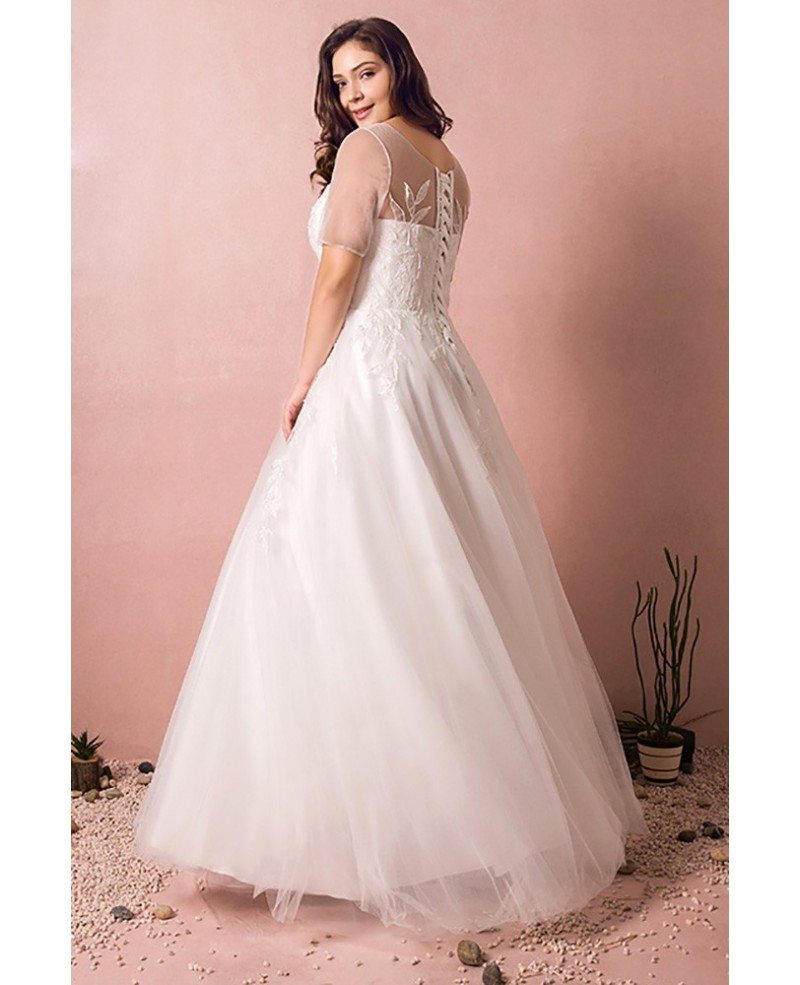Simple Modest Plus Size Beach Wedding Dress Illusion Sleeves Long ...