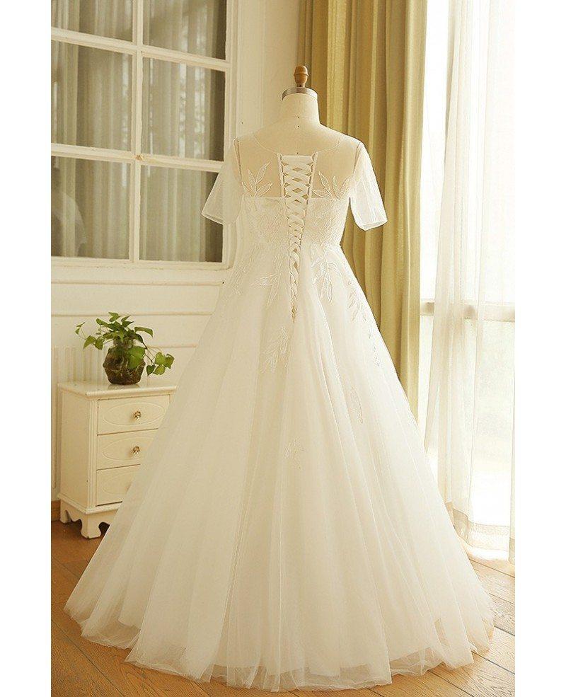 Simple Modest Plus Size Beach Wedding Dress Illusion