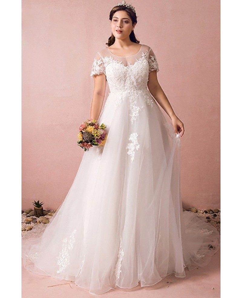 Boho lace a line beach wedding dress plus size with for Plus size lace wedding dresses with sleeves