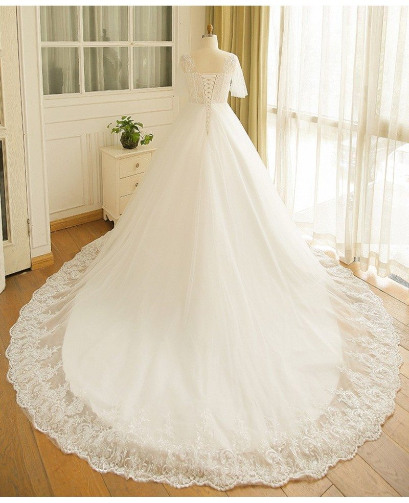Flowy Plus Size A Line Lace Wedding Dress Tulle Corset With Long ...